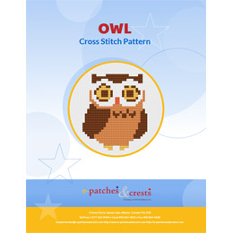 This PDF booklet has a cross stitched owl pattern on the cover.
