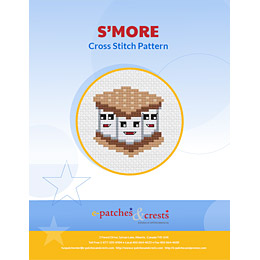 This PDF booklet has a cross stitched image of three happy marshmallows squished between chocolate and gram crackers on the cover.