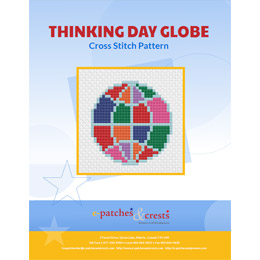 This PDF booklet has a cross stitched Thinking Day Globe on the cover. The colours on the globe represent the sections of Guiding.