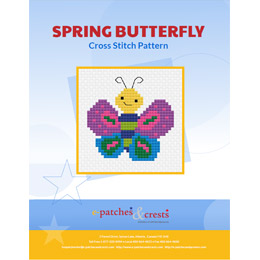 This PDF booklet has a cross stitched butterfly on the cover. The butterfly is decorated in spring colours of purple, pink, green, and blue.
