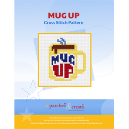 This PDF booklet has a cross stitched mug filled with steaming dark liquid on the cover. The mug has the words 'Mug Up' on it.