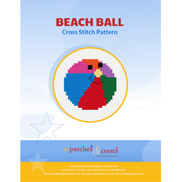 This PDF booklet has a cross stitched beach ball on the cover. The beach ball is split into 5 colours and has a smiley face where all the colours join.