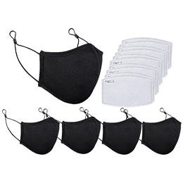 Adult Mask: 3-Layer Reusable Black Cloth Face Mask with 10 Filters (5 Pack of Masks)
