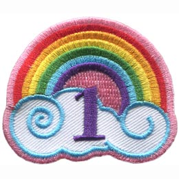 This patch has a rainbow arching over a white cloud with blue outlines. The number ''1'' is embroidered under the rainbow's arch.