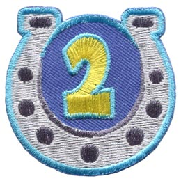 Horseshoe, Guides, Game, Two, 2, Second, Year, Patch, Embroidered Patch, Merit Badge, Badge, Emblem, Iron On, Iron-On, Crest, Lapel Pin, Insignia, Girl Scouts, Boy Scouts, Girl Guides