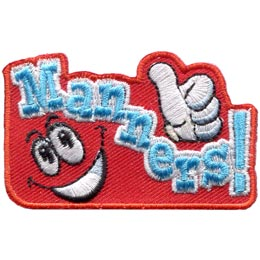 Manners, Thumbs, Up, Courtesy, Behaviour, Good, Patch, Embroidered Patch, Merit Badge, Badge, Emblem, Iron On, Iron-On, Crest, Lapel Pin, Insignia, Girl Scouts, Boy Scouts, Girl Guides