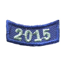This 1 inch wide by 0.5 inch high rocker curves upwards like a smile. The year 2015 is embroidered in a bold font.