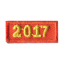 This 1 inch wide by 0.5 inch high rocker forms a straight-edged rectangle. The year 2017 is embroidered in a bold font.