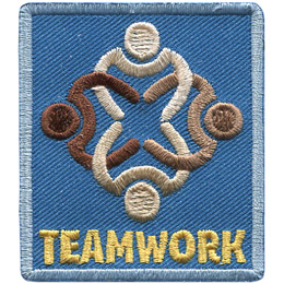 This rectangular patch is the top down view of four people, of varying colour, interlocking their arms. The text 'Teamwork' is embroidered underneath the image.