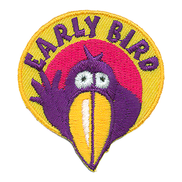 Early, Bird, Award, Patch, Embroidered Patch, Merit Badge, Badge, Emblem, Iron On, Iron-On, Crest, Lapel Pin, Insignia, Girl Scouts, Boy Scouts, Girl Guides