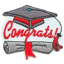 Congrats, Graduation, College, High,School, Scroll, Hat, Ribbon,Patch, Embroidered Patch, Merit Badge, Badge, Emblem, Iron On, Iron-On, Crest, Lapel Pin, Insignia, Girl Scouts, Boy Scouts, Girl Guides
