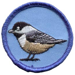 Chickadee, Bird, Circle, Patch, Embroidered Patch, Merit Badge, Badge, Emblem, Iron On, Iron-On, Crest, Lapel Pin, Insignia, Girl Scouts, Boy Scouts, Girl Guides