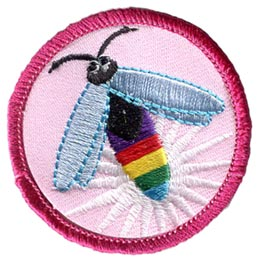 Firefly, Lightning, Bug, Rainbow, Circle, Patch, Embroidered Patch, Merit Badge, Badge, Emblem, Iron On, Iron-On, Crest, Lapel Pin, Insignia, Girl Scouts, Boy Scouts, Girl Guides