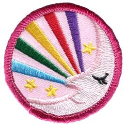 Moon, Moonlight, Rainbow, Stars, Shine, Night, Circle, Patch, Embroidered Patch, Merit Badge, Badge, Emblem, Iron On, Iron-On, Crest, Lapel Pin, Insignia, Girl Scouts, Boy Scouts, Girl Guides