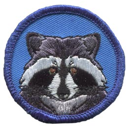 Raccoon, Bandit, Circle, Badge, Patrol, Badge, Embroidered Patch, Merit Badge, Badge, Emblem, Iron On, Iron-On, Crest, Lapel Pin, Insignia, Girl Scouts, Boy Scouts, Girl Guides