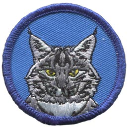 Lynx, Cat, Circle, Badge, Patrol, Badge, Embroidered Patch, Merit Badge, Badge, Emblem, Iron On, Iron-On, Crest, Lapel Pin, Insignia, Girl Scouts, Boy Scouts, Girl Guides