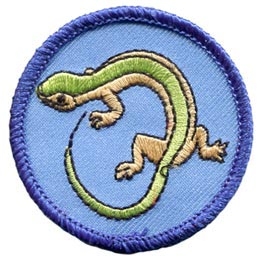 Lizard, Reptile, Circle, Patch, Embroidered Patch, Merit Badge, Badge, Emblem, Iron On, Iron-On, Crest, Lapel Pin, Insignia, Girl Scouts, Boy Scouts, Girl Guides