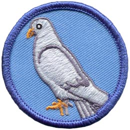 This patch displays the side view of a white dove standing on the ground. The dove is facing left.