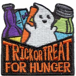 Halloween, Trick or Treat, Trick, Treat, Ghost, Community, Patch, Embroidered Patch, Merit Badge, Badge, Emblem, Iron On, Iron-On, Crest, Lapel Pin, Insignia, Girl Scouts, Boy Scouts, Girl Guides
