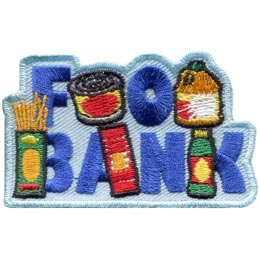 Food, Bank, 2015, Donate, Patch, Embroidered Patch, Merit Badge, Badge, Emblem, Iron On, Iron-On, Crest, Lapel Pin, Insignia, Girl Scouts, Boy Scouts, Girl Guides