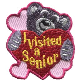 Senior, Visit, Teddy, Bear, Heart, Patch, Embroidered Patch, Merit Badge, Badge, Emblem, Iron On, Iron-On, Crest, Lapel Pin, Insignia, Girl Scouts, Boy Scouts, Girl Guides