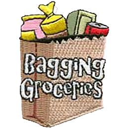 Bagging Groceries, Grocery, Bag, Food, Pack, Patch, Embroidered Patch, Merit Badge, Crest, Girl Scouts, Boy Scouts, Girl Guides