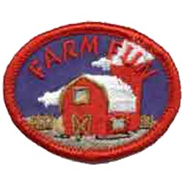 Farm Fun, Barn, Hay, Patch, Embroidered Patch, Merit Badge, Crest, Girl Scouts, Boy Scouts, Girl Guides