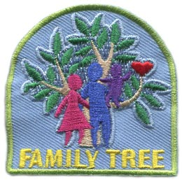Family, Tree, Family Tree, Mom, Dad, Child, Parents, History, Patch, Embroidered Patch, Merit Badge, Badge, Emblem, Iron On, Iron-On, Crest, Lapel Pin, Insignia, Girl Scouts, Boy Scouts, Girl Guides