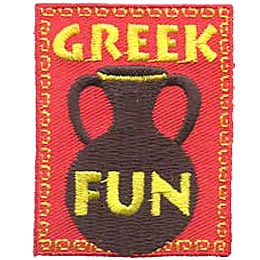 Greek, Greece, Vase, Pottery, Ceramics, Patch, Embroidered Patch, Merit Badge, Crest, Girl Scouts, Boy Scouts, Girl Guides