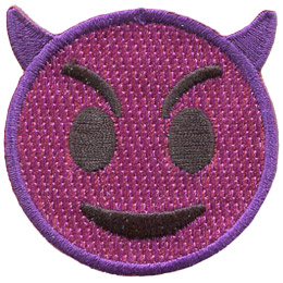 A purple circle forms a devil face with short, curved horns, mischievous eyes, and an a troublemaker's grin.