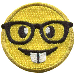 A yellow circle forms a smiley face with buck teeth and glasses over its eyes.