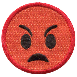 This red emoji is very mad. Its eyebrows slant down towards the center of its face, it has big, wide oval eyes, and its mouth is set in an angry frown.