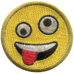This round, yellow emoji face has two different sized eyes (one looking up and the other looking down) and a wide open mouth with its tongue hanging out.