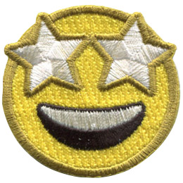A yellow circle forms a emoji face with starry eyes and a wide smile spread over its face.