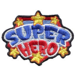 Super, Hero, Star, Shield, Award, Patch, Embroidered Patch, Merit Badge, Badge, Emblem, Iron On, Iron-On, Crest, Lapel Pin, Insignia, Girl Scouts, Boy Scouts, Girl Guides