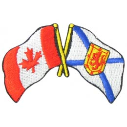 Canada, Nova Scotia, Friendship, Flag, Country, Province, Patch, Embroidered Patch, Merit Badge, Iron On, Iron-On, Crest, Girl Scouts