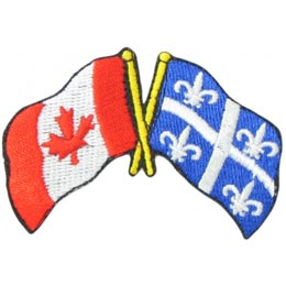 Canada, Quebec, Friendship, Flag, Country, Province, Patch, Embroidered Patch, Merit Badge, Iron On, Iron-On, Crest, Girl Scouts