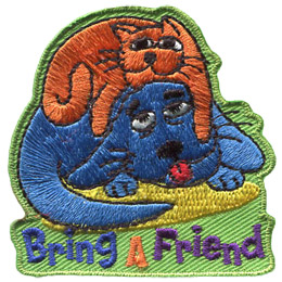 A tired cat rests on top a trusty dog with the text 'Bring A Friend' embroidered underneath.
