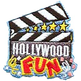 Hollywood Fun, Star, Actor, Actress, Movie, California, Patch, Embroidered Patch, Merit Badge, Iron On, Iron-On, Crest, Girl Scouts, Boy Scouts, Girl