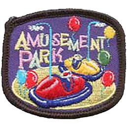 Amusement Park, Bumper Cars, Car, Carnival, Patch, Embroidered Patch, Merit Badge, Crest, Girl Scouts, Boy Scouts, Girl Guides