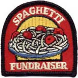 Spaghetti, Fundraising, Fundraise, Dinner, Meatball, Meat, Ball, Patch, Embroidered Patch, Merit Badge, Badge, Emblem, Iron On, Iron-On, Crest, Lapel Pin, Insignia, Girl Scouts, Boy Scouts, Girl Guide