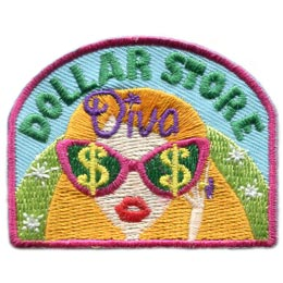 Dollar Store Diva, Dollar Store, Diva, Money, Saving, Sunglasse,Patch, Embroidered Patch, Merit Badge, Badge, Emblem, Iron On, Iron-On, Crest, Lapel Pin, Insignia, Girl Scouts, Boy Scouts, Girl Guides