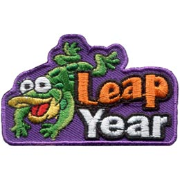 A green frog has his front legs outstretched as he happily lands a flying leap beside the words ''Leap Year''.