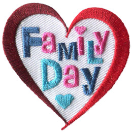 This two-toned heart shaped patch has the words 'Family Day' embroidered in blues and pinks.