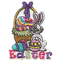 An Easter basket is overflowing with colourfully dyed eggs. A cartoon bunny sits in front of the basket holding a pink, purple, and yellow egg.
