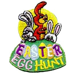 Easter Egg Hunt, Rabbit, Bunny, Bunnies, Patch, Embroidered Patch, Merit Badge, Crest, Girl Scouts, Boy Scouts, Girl Guides