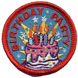 Birthday, Party, Cake, Candle, Star, Bake, Baking, Desert, Patch, Embroidered Patch, Merit Badge, Iron On, Iron-On, Crest, Girl Scouts, Boy Scouts, Gi