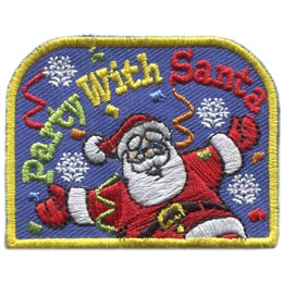 Party, Santa, Christmas, Snow, Snowflake, Streamer, Patch, Embroidered Patch, Merit Badge, Badge, Emblem, Iron On, Iron-On, Crest, Lapel Pin, Insignia, Girl Scouts, Boy Scouts, Girl Guides