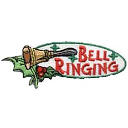Bell Ringing, Christmas, Bells, Holly, Patch, Embroidered Patch, Merit Badge, Crest, Girl Scouts, Boy Scouts, Girl Guides