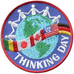 Thinking Day Globe & Flags (Iron On) - limited quantity